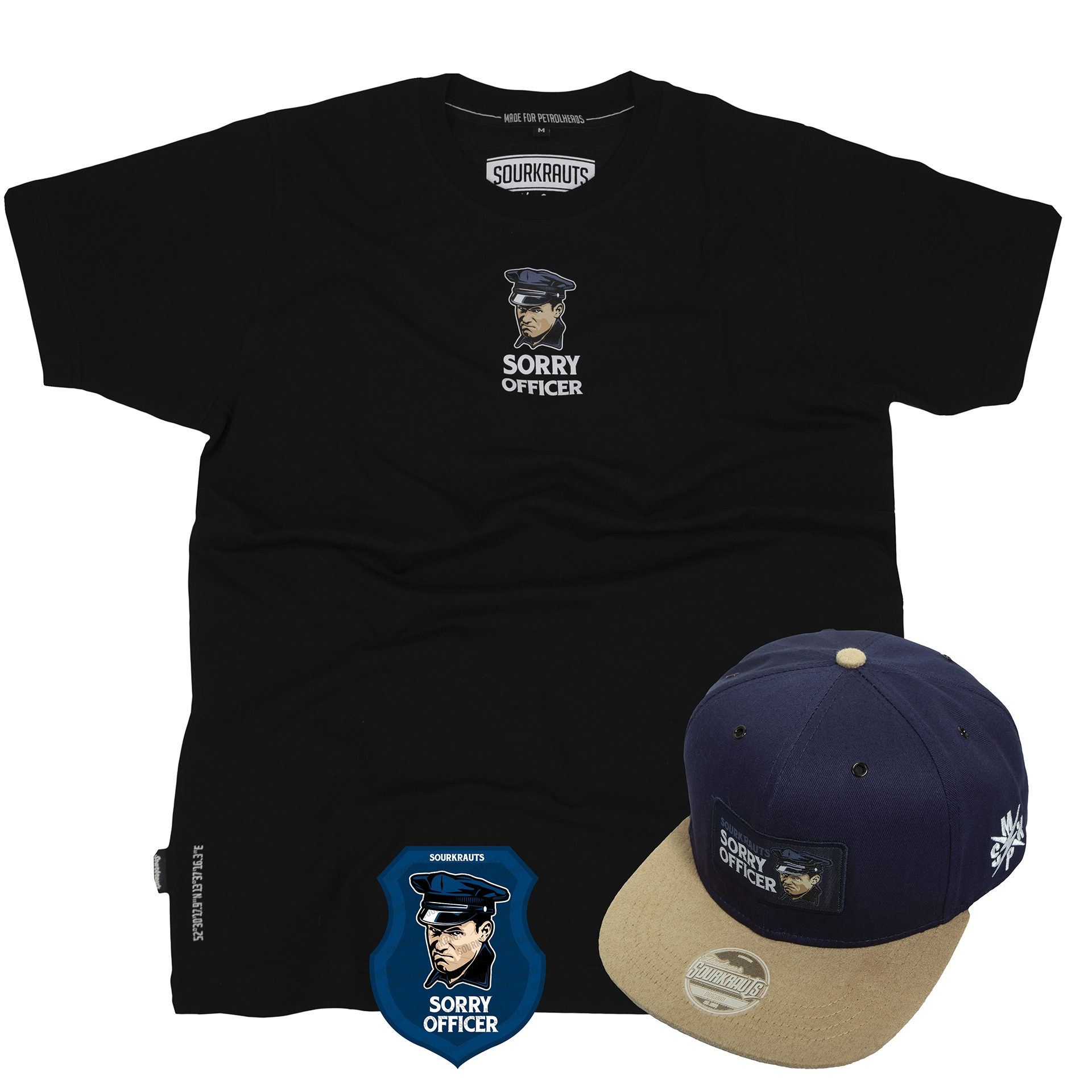 Bundle | Sorry Officer | Cap + T-Shirt + Aufkleber