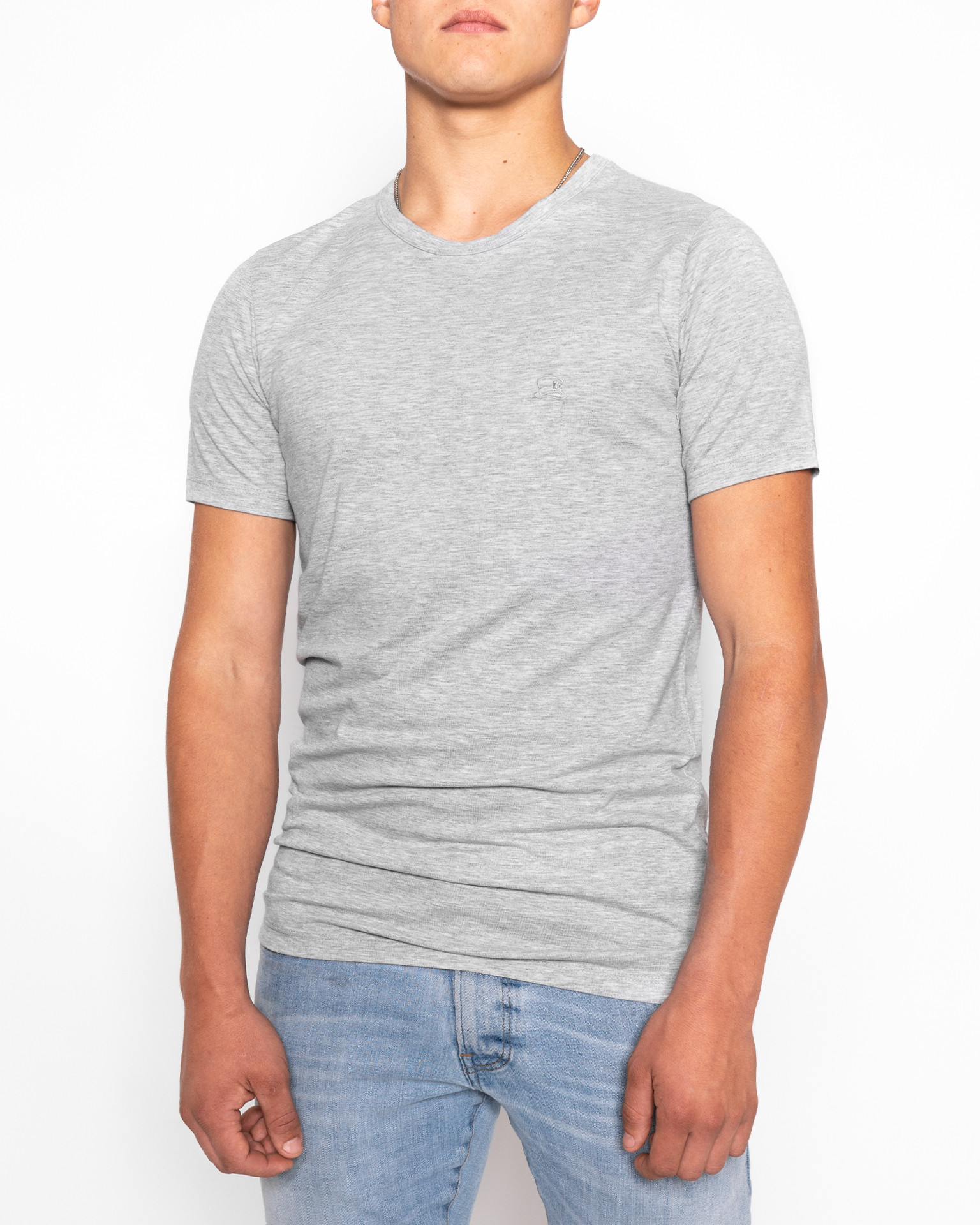 T-Shirt   Basic Slim   Grau-Meliert